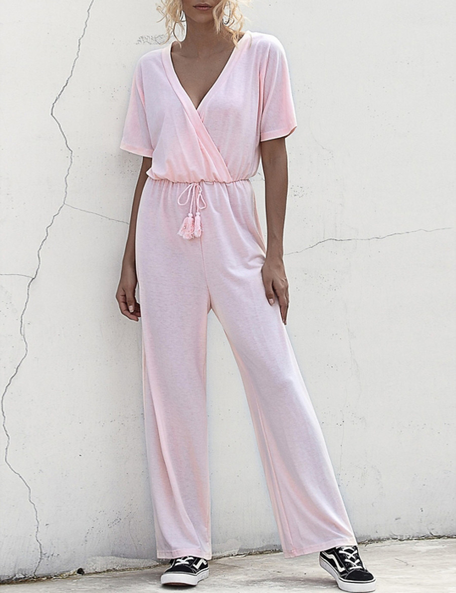 Women's White Black Blushing Pink Jumpsuit Solid Colored