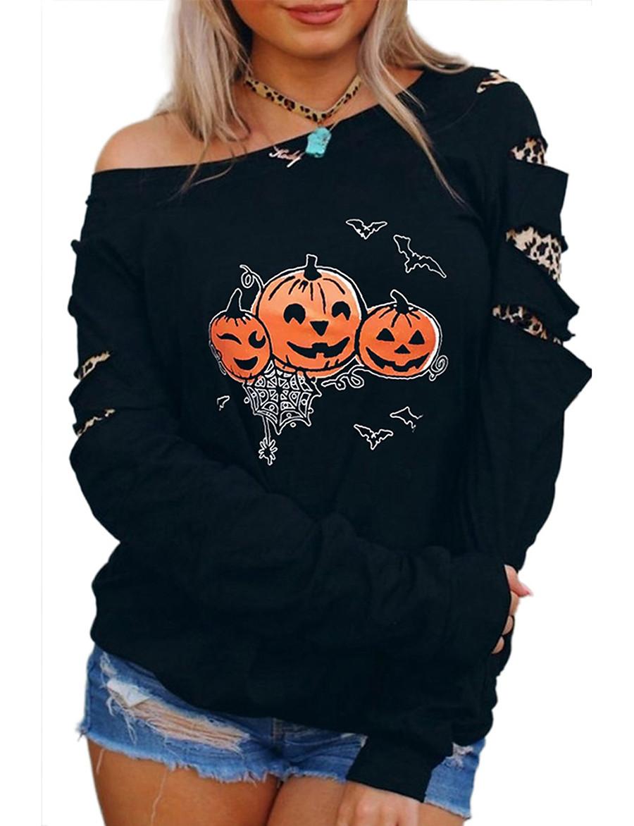 Women's Daily Pullover Sweatshirt Print Basic Halloween Hoodies Sweatshirts  Black
