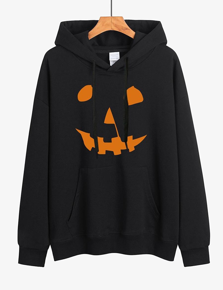 Women's Pullover Hoodie Sweatshirt Pumpkin Halloween Halloween Hoodies Sweatshirts  Loose White Black Red