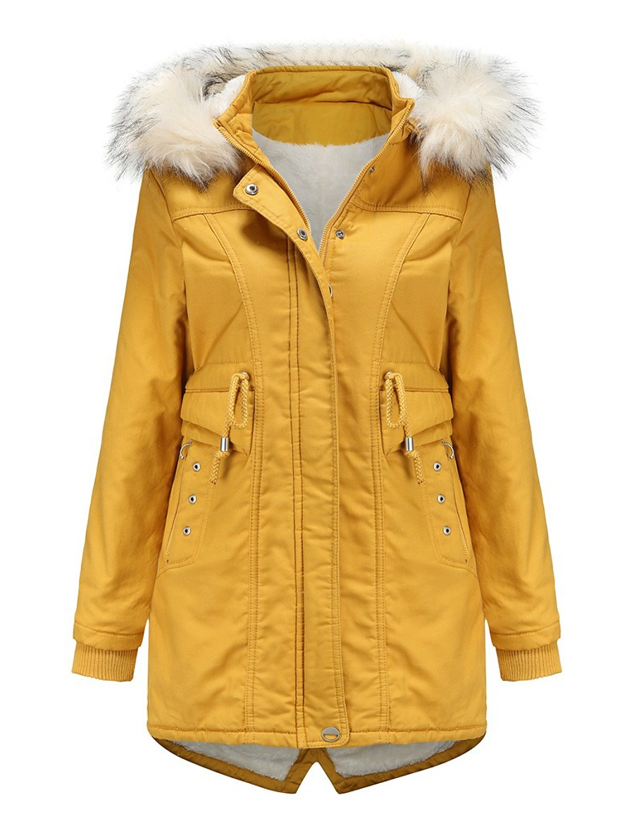 Women's Padded Parka Solid Colored Poly&Cotton Blend Black / Red / Yellow M / L / XL