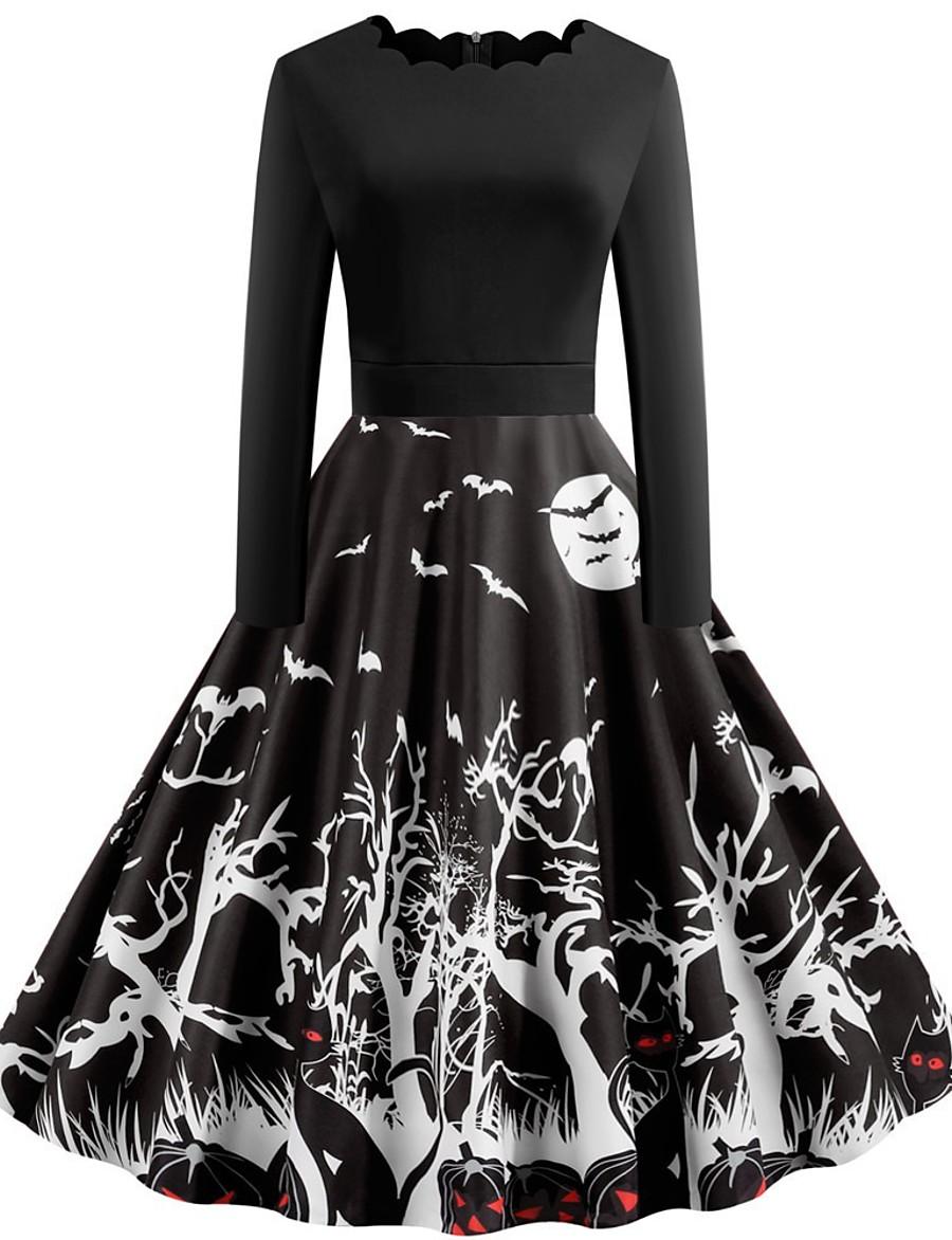 Halloween Women's A-Line Dress Knee Length Dress - Long Sleeve Pumpkin Bat Print Patchwork Print Spring Fall Boat Neck Hot Vintage Slim 2020 Black S M L XL XXL