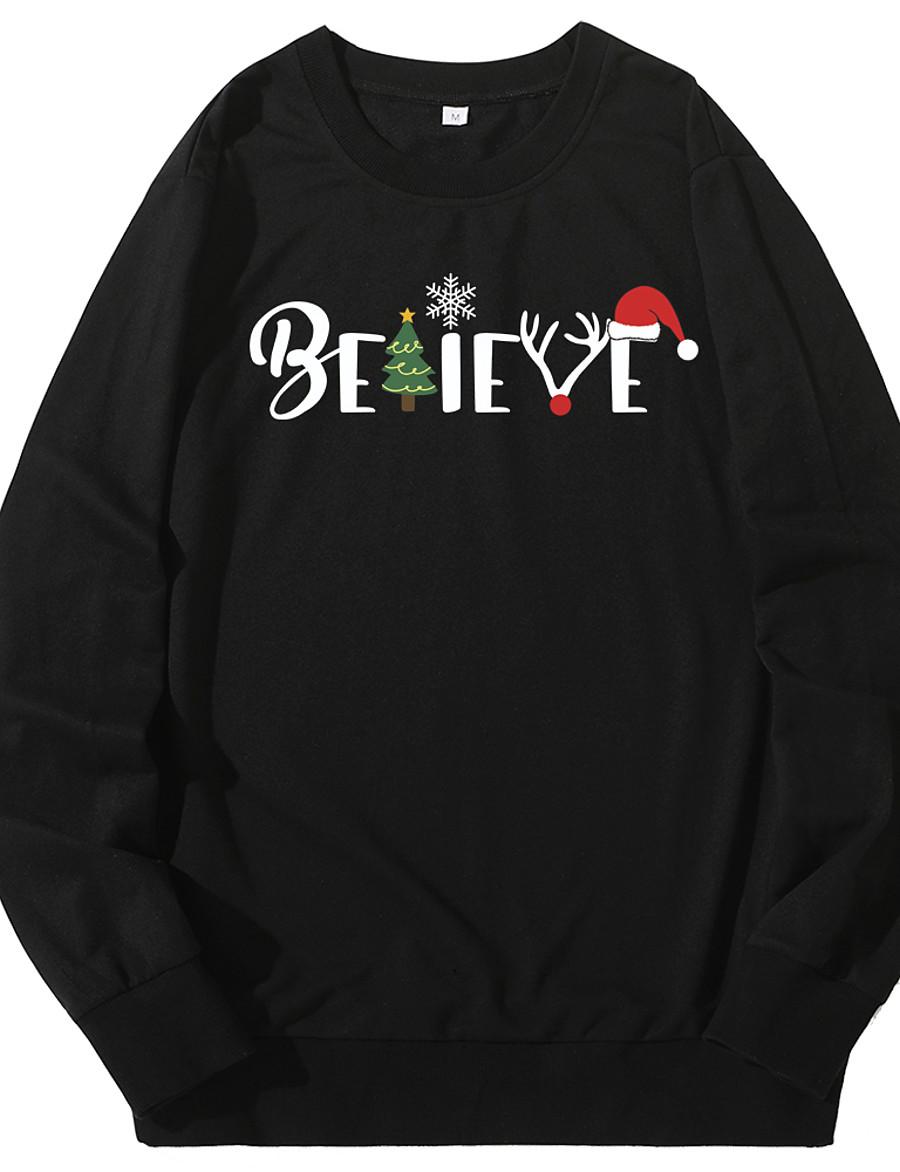 Women's Pullover Sweatshirt Slogan Monograms Front Pocket Daily Other Prints Christmas Hoodies Sweatshirts  White Black Blue