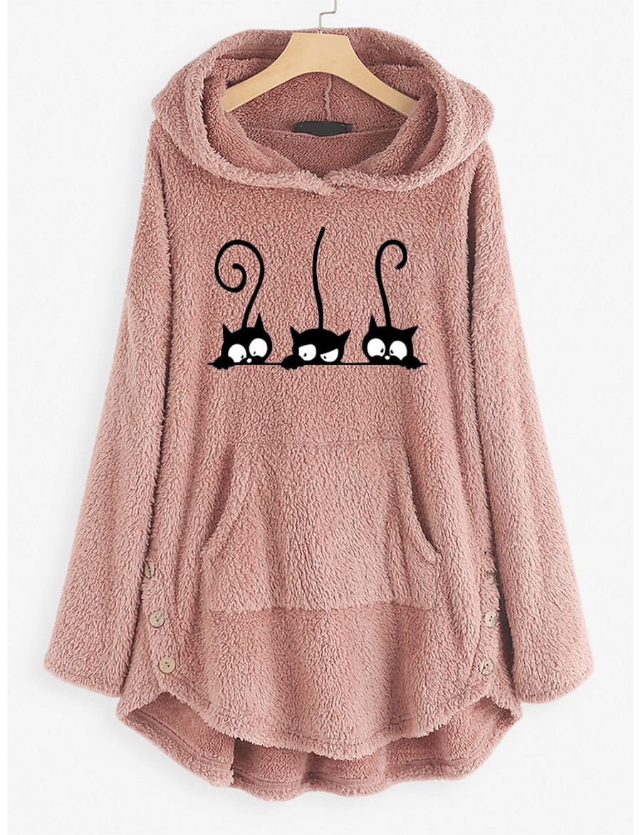 forthery fuzzy hoodies sweater women baggy cat jumper pullover tops pullover jumper sweatshirts jackets coats pink