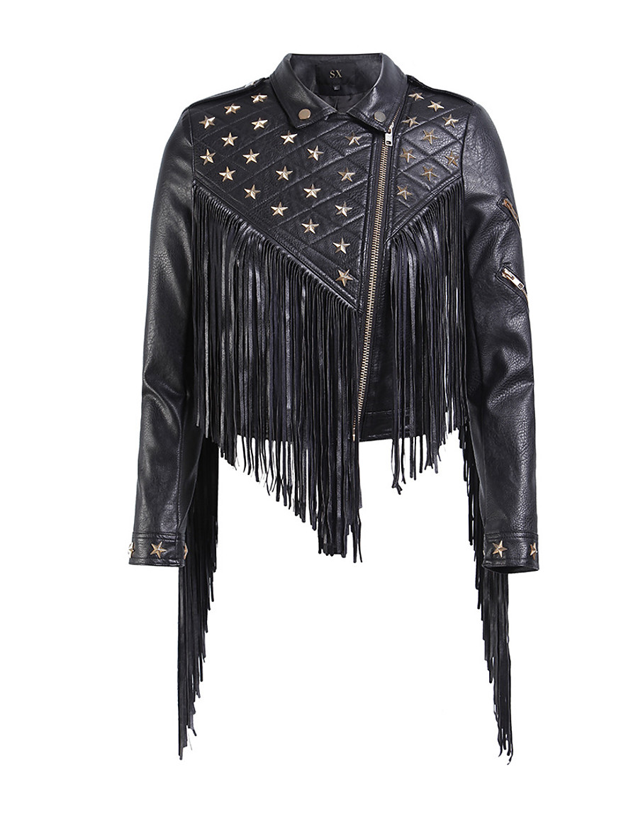 Women's Zipper Shirt Collar Faux Leather Jacket Short Solid Colored Daily Punk & Gothic Tassel Fringe Black S M L XL