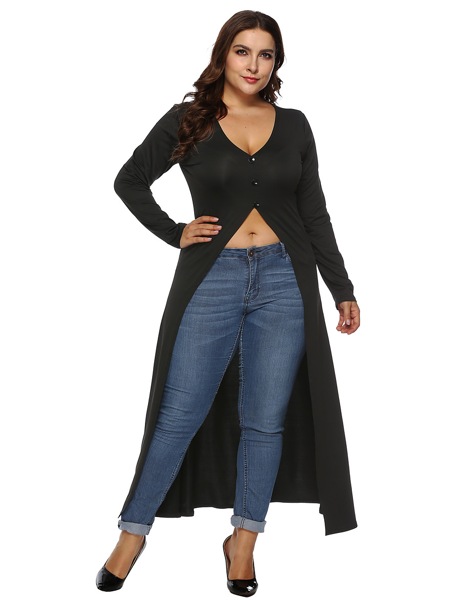 Women's Plus Size Tshirt Dress Solid Colored Long Sleeve V Neck Tops Basic Top Black