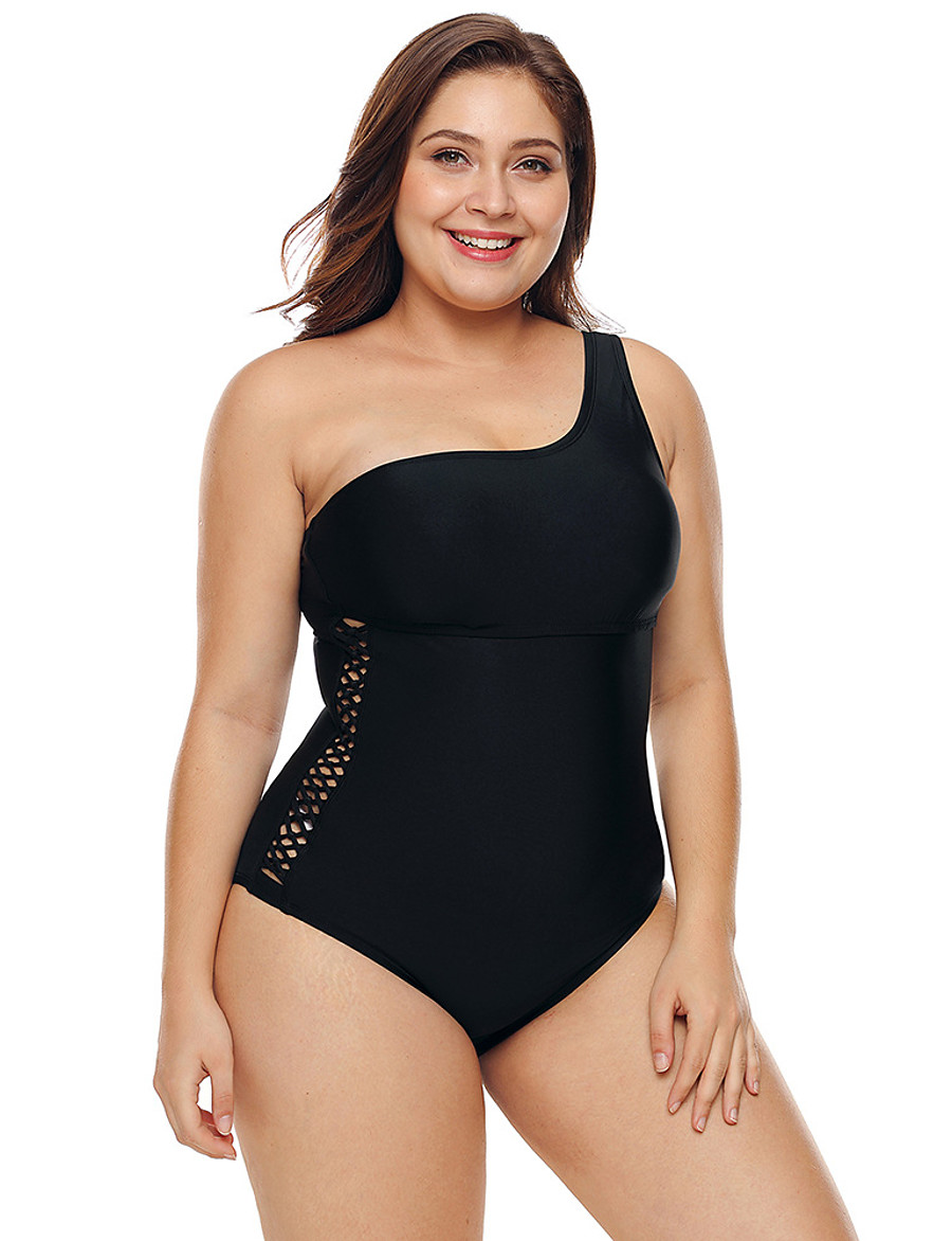 Women's Plus Size Black Off Shoulder One-piece Swimsuit Backless Cut Out Solid Colored Strapless Swimwear Bathing Suits Black / Padded Bras