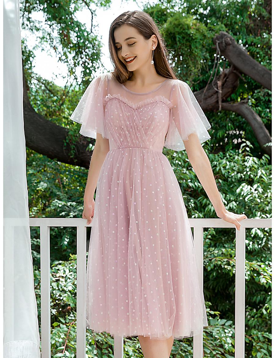 Women's A-Line Dress Maxi long Dress - Short Sleeve Polka Dot Ruffle Spring Summer Casual Elegant Holiday Going out Loose 2020 Blushing Pink S M L XL XXL