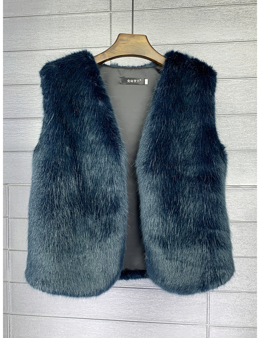 Women's Single Breasted Vest Regular Solid Colored Daily Basic Blue Brown Beige S M L XL