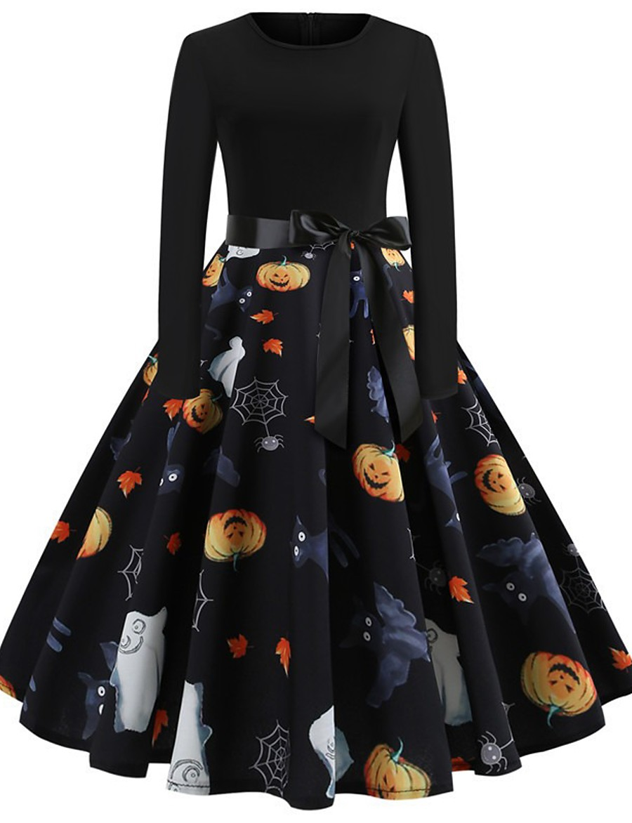 Halloween Women's A-Line Dress Knee Length Dress - Long Sleeve Pumpkin Skeleton Print Bow Patchwork Print Spring Fall Vintage Slim 2020 White Black Yellow S M L XL XXL