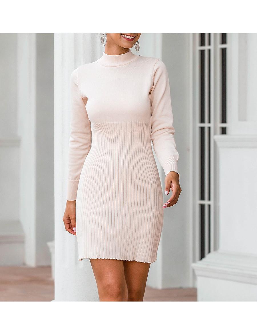 Women's Sweater Jumper Dress Short Mini Dress - Long Sleeve Fall Winter Casual Cotton 2020 Black Wine Beige One-Size