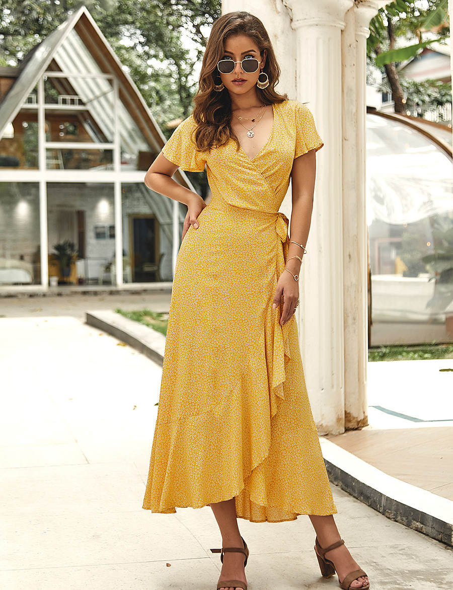 Women's Sheath Dress Maxi long Dress - Short Sleeves Print Summer V Neck Dresses 2020 Black Red Yellow Light Blue S M L XL