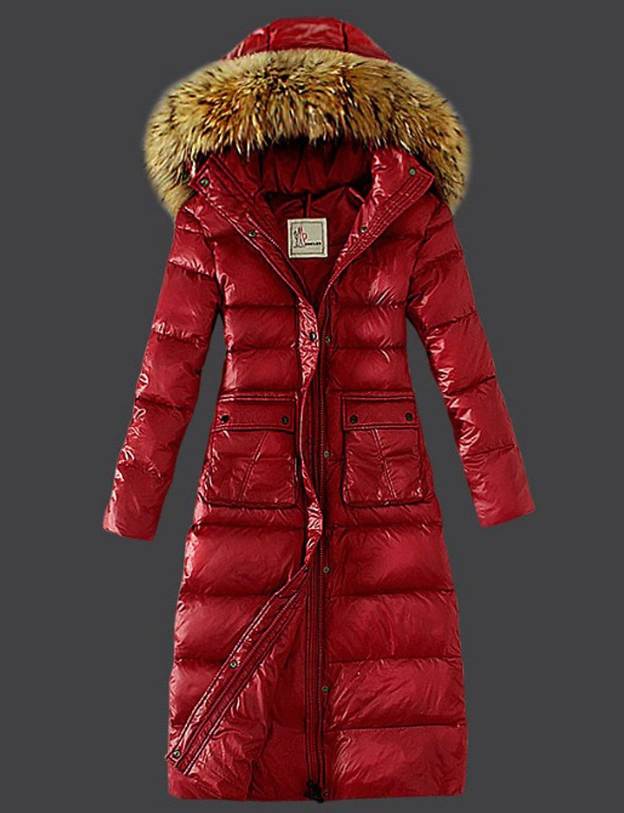Women's Parka Parka Solid Colored Long POLY Black / Red / Green S / M / L