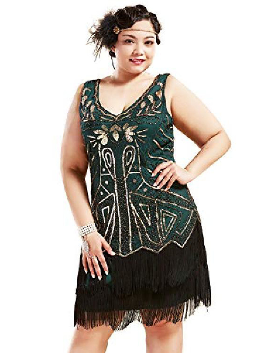women's plus size flapper dresses 1920s v neck beaded fringed great gatsby dress (gold & dark green, 5x-large)