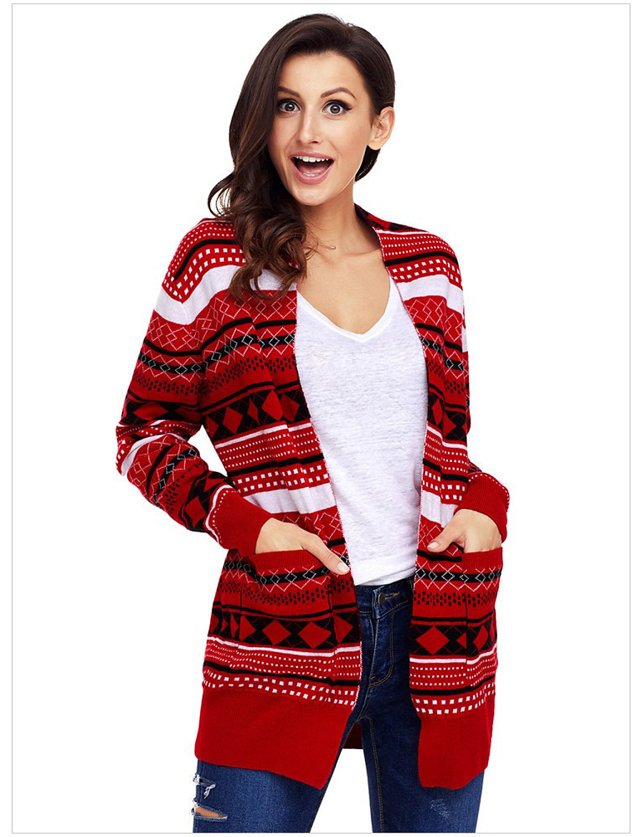 Women's Christmas Knitted Striped Cardigan Long Sleeve Loose Sweater Cardigans V Neck Fall Winter Black Red Green