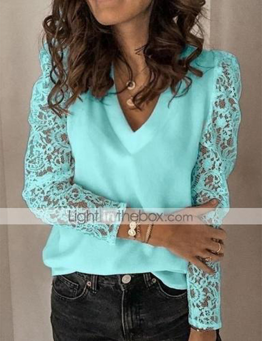 Women's Blouse Shirt Solid Colored Long Sleeve Lace V Neck Tops Chiffon Lace Basic Top White Black Blue