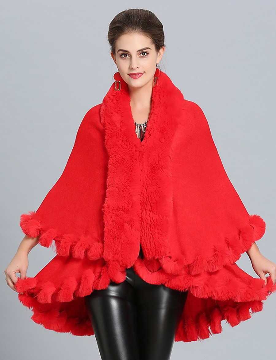 Women's Fall & Winter Open Front Cloak / Capes Regular Solid Colored Daily Basic Faux Fur White Black Red Blushing Pink One-Size