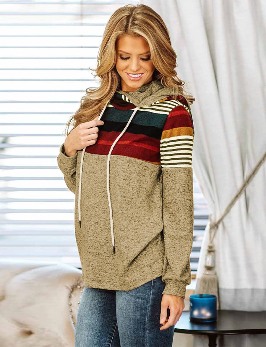 Women's Pullover Hoodie Sweatshirt Striped Daily Other Prints Basic Hoodies Sweatshirts  Slim Khaki