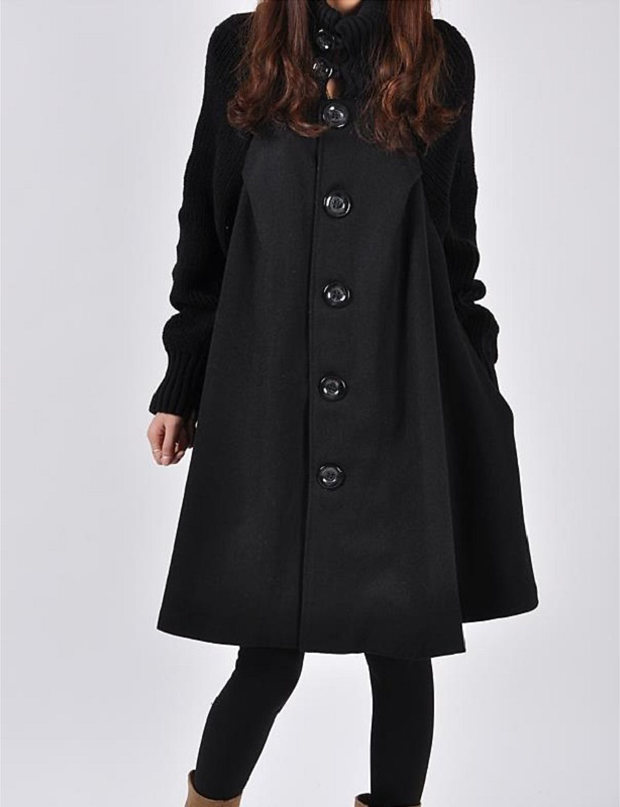 Women's Coat Solid Colored Basic Fall & Winter Long Daily Long Sleeve Cotton Coat Tops Red