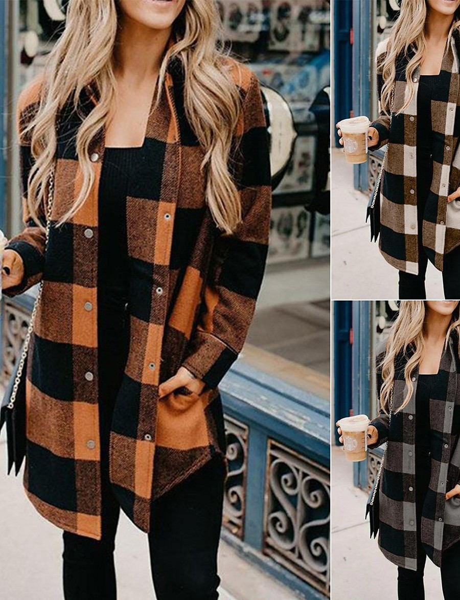 Women's Fall & Winter Hidden Stand Collar Coat Long Color Block Daily Basic Patchwork Black & White Blue Red Yellow Orange S M L XL / Print / Loose
