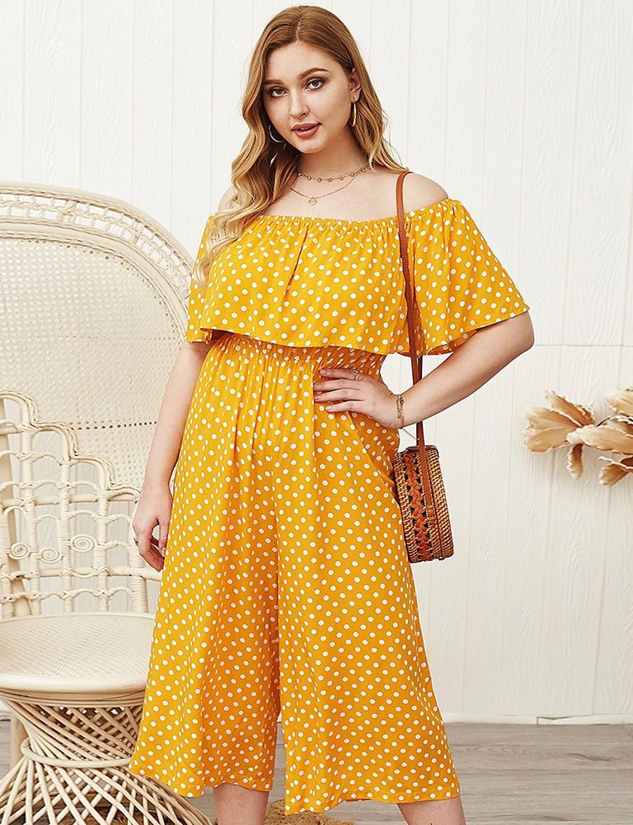Women's A-Line Dress Midi Dress - Short Sleeve Polka Dot Ruched Print Summer Off Shoulder Plus Size Casual Sexy 2020 Yellow XL XXL 3XL 4XL