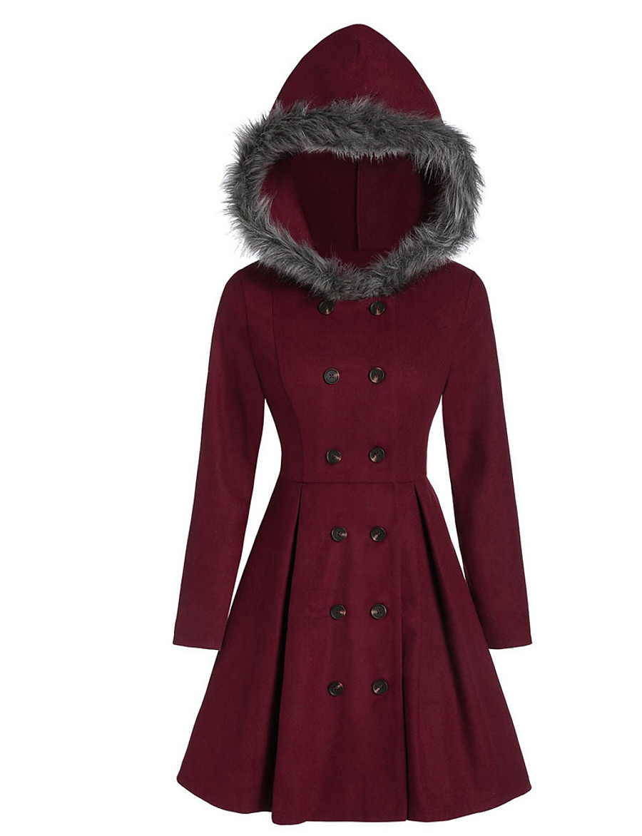 Women's Fall & Winter Coat Long Solid Colored Daily Active Black Wine S M L XL