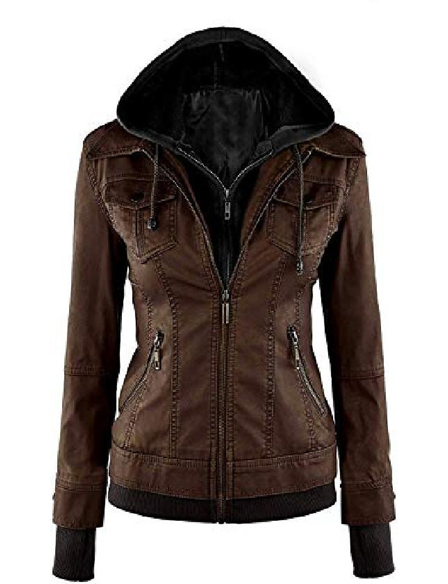 women's sparteens real leather jacket bomber removable hood for women brown