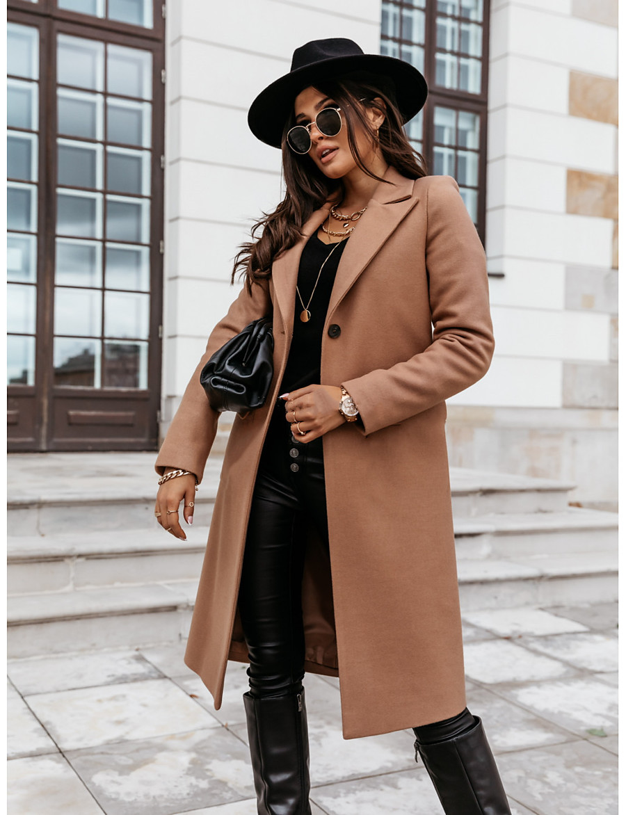 Women's Fall & Winter Double Breasted Coat Long Solid Colored Daily Basic Black Khaki Light gray S M L XL