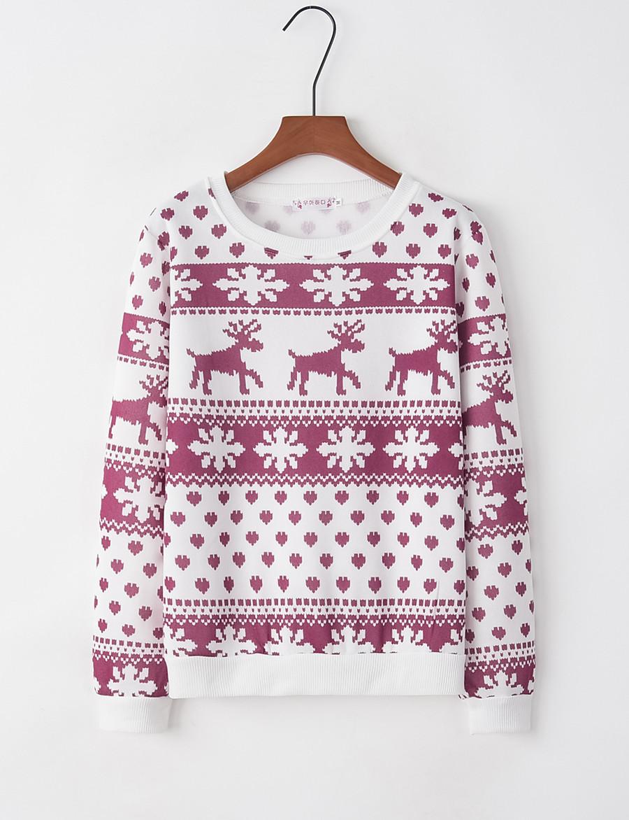 Women's Pullover Sweatshirt Graphic Christmas Christmas Hoodies Sweatshirts  Loose Black Red