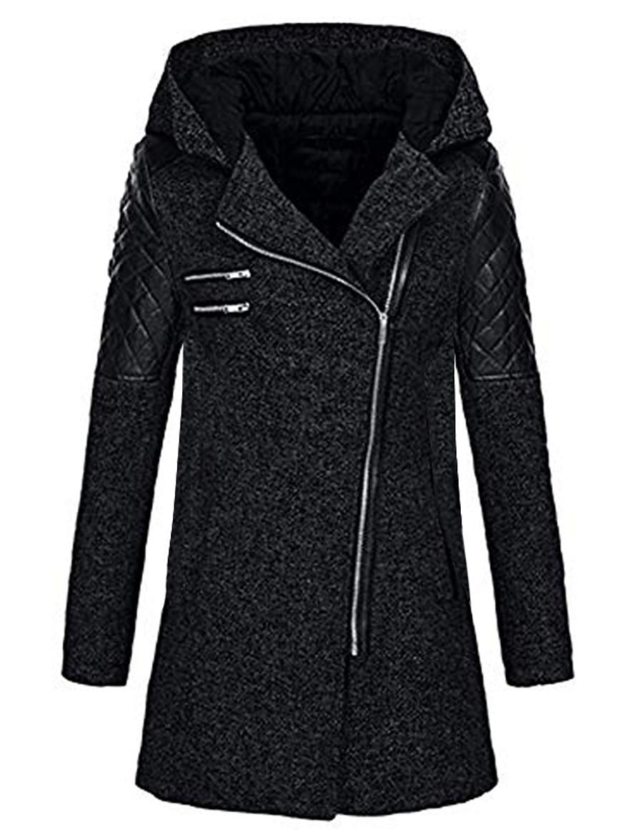 Women's Jacket Regular Solid Colored Daily Basic Rabbit Fur Navy Black Wine S M L / Cotton