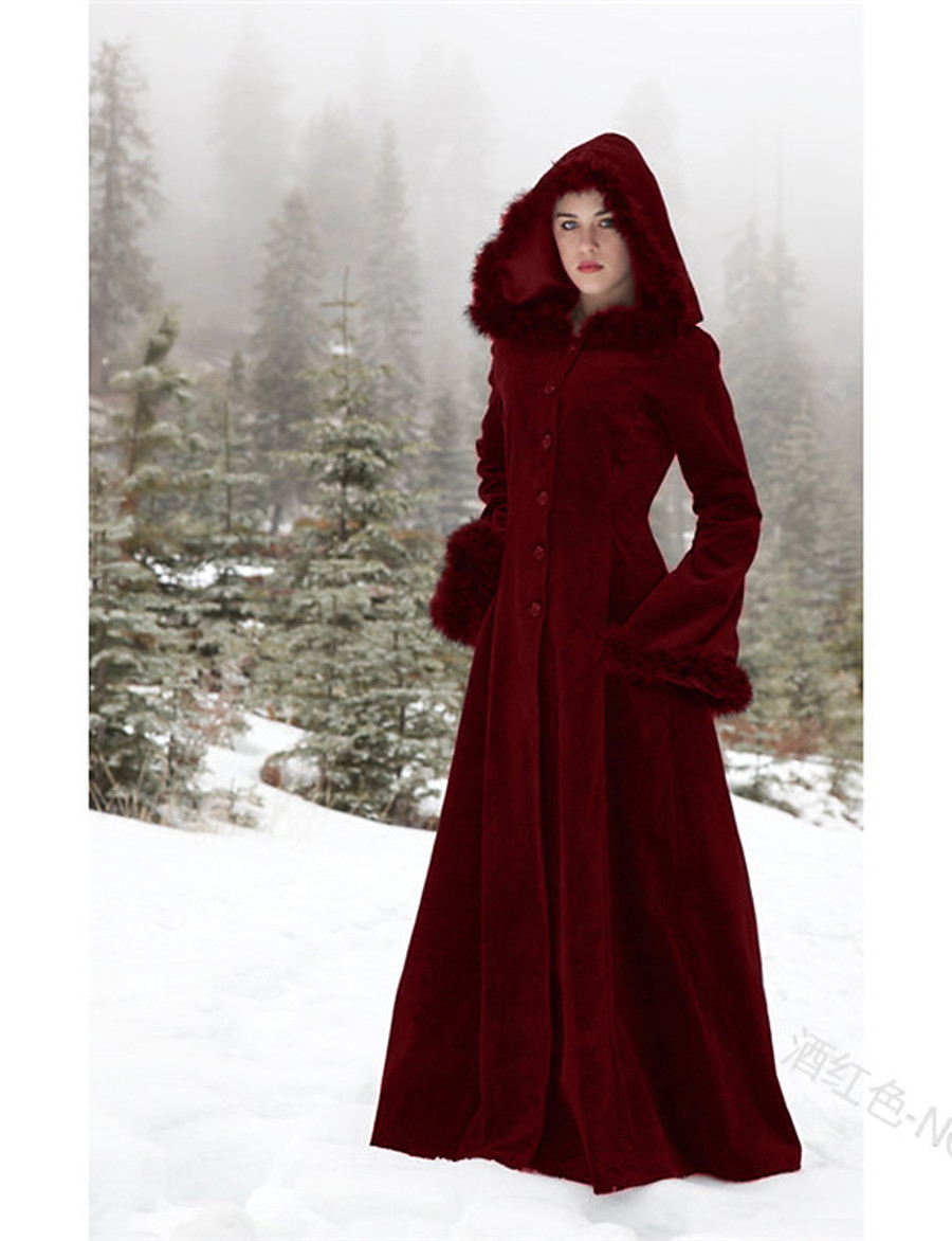 Women's Fall & Winter Single Breasted Coat Maxi Solid Colored Daily Vintage Black Wine Green S M L XL