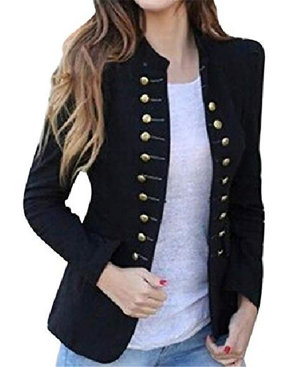 Women's Coat Solid Color Others Formal Coat Fall Spring Daily Regular Jacket Wine Red / Cotton