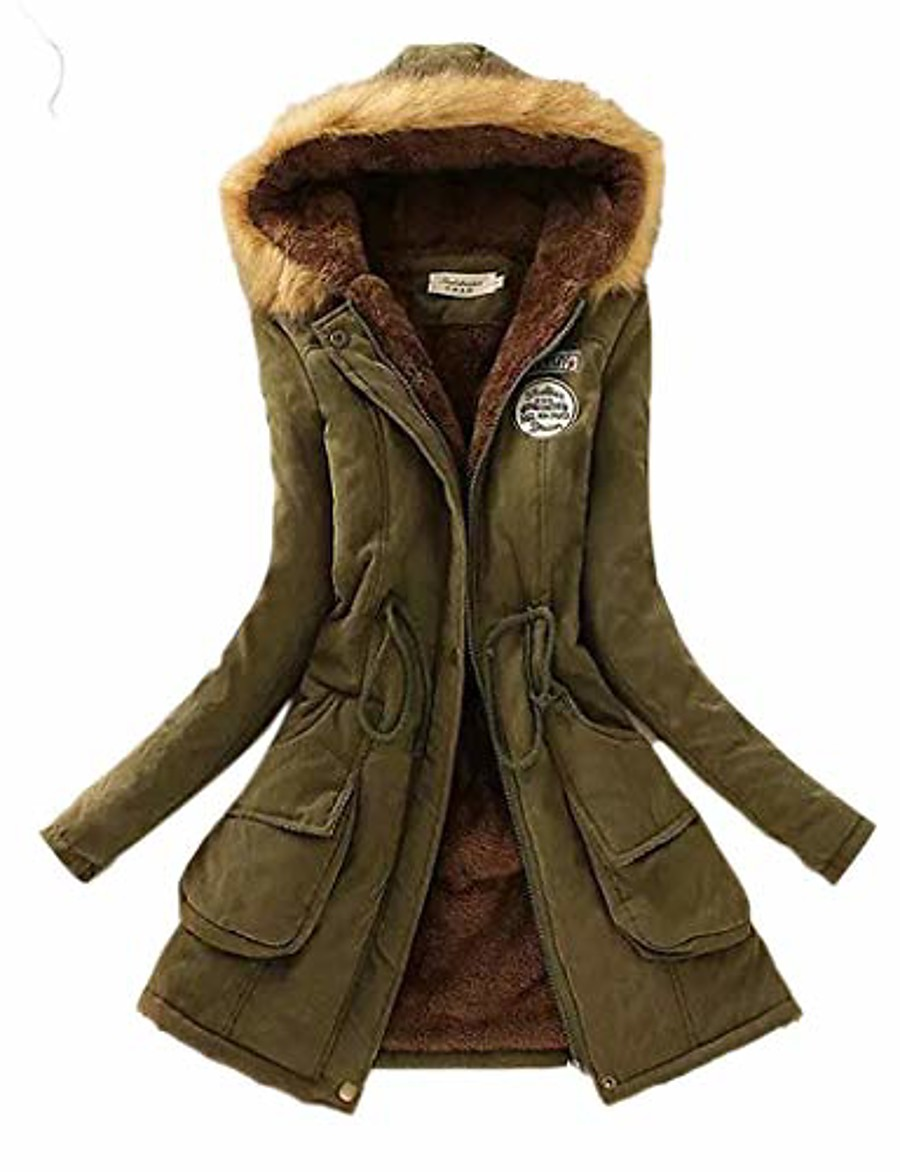 women fashion hooded long sleeve winter warm patchwork coat down army green