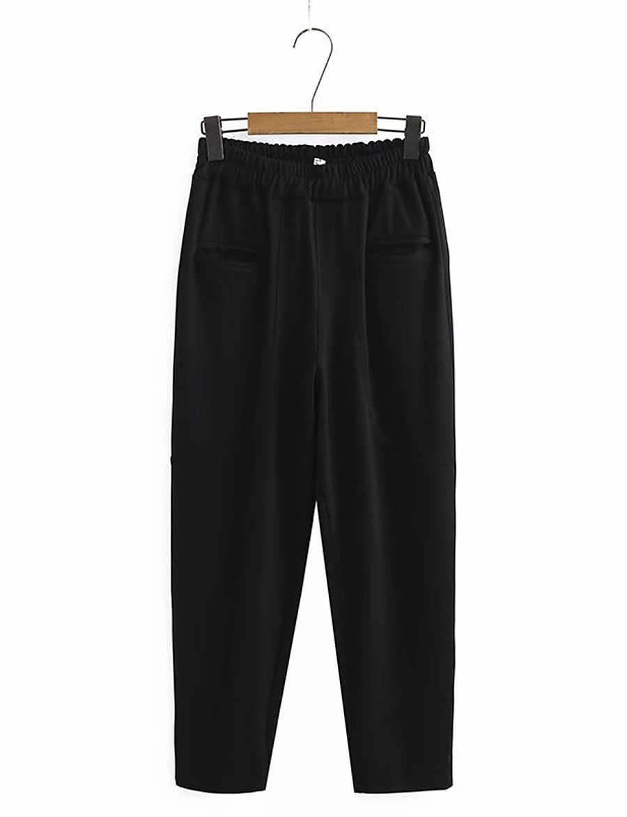 Women's Basic Streetwear Comfort Plus Size Cotton Loose Daily Going out Jogger Pants Solid Colored Full Length High Waist Black