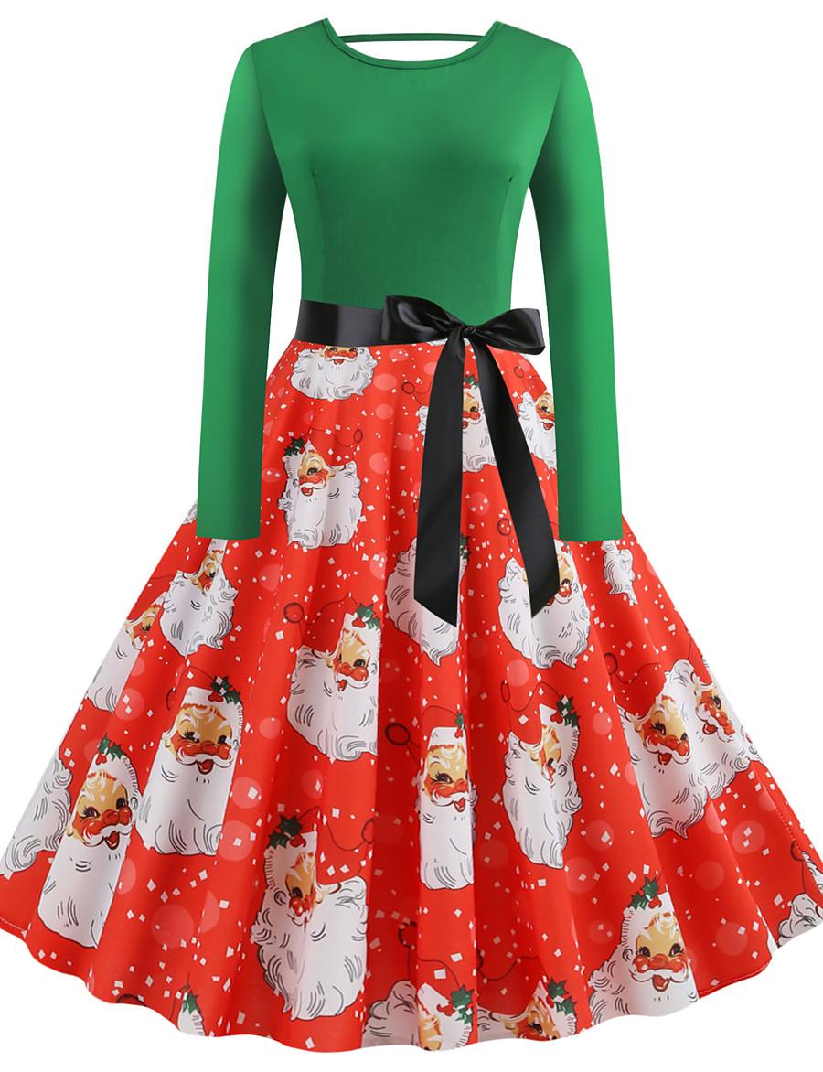 Women's Knee Length Dress Sheath Dress Green Long Sleeve Patchwork Print Round Neck Winter Christmas Vintage 2021 Slim S M L XL XXL 3XL 4XL 5XL