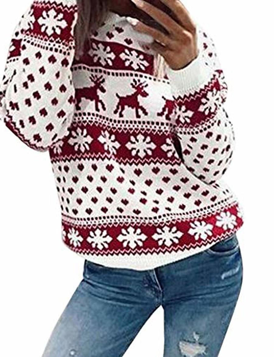 wuai women's ugly christmas sweater ladies christmas santa claus reindeer snowflake printed xmas pullover tops(red,small)