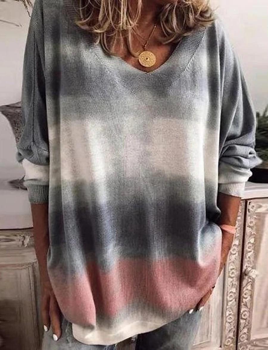Women's Tunic Tie Dye Long Sleeve V Neck Tops Elegant Basic Top Light gray