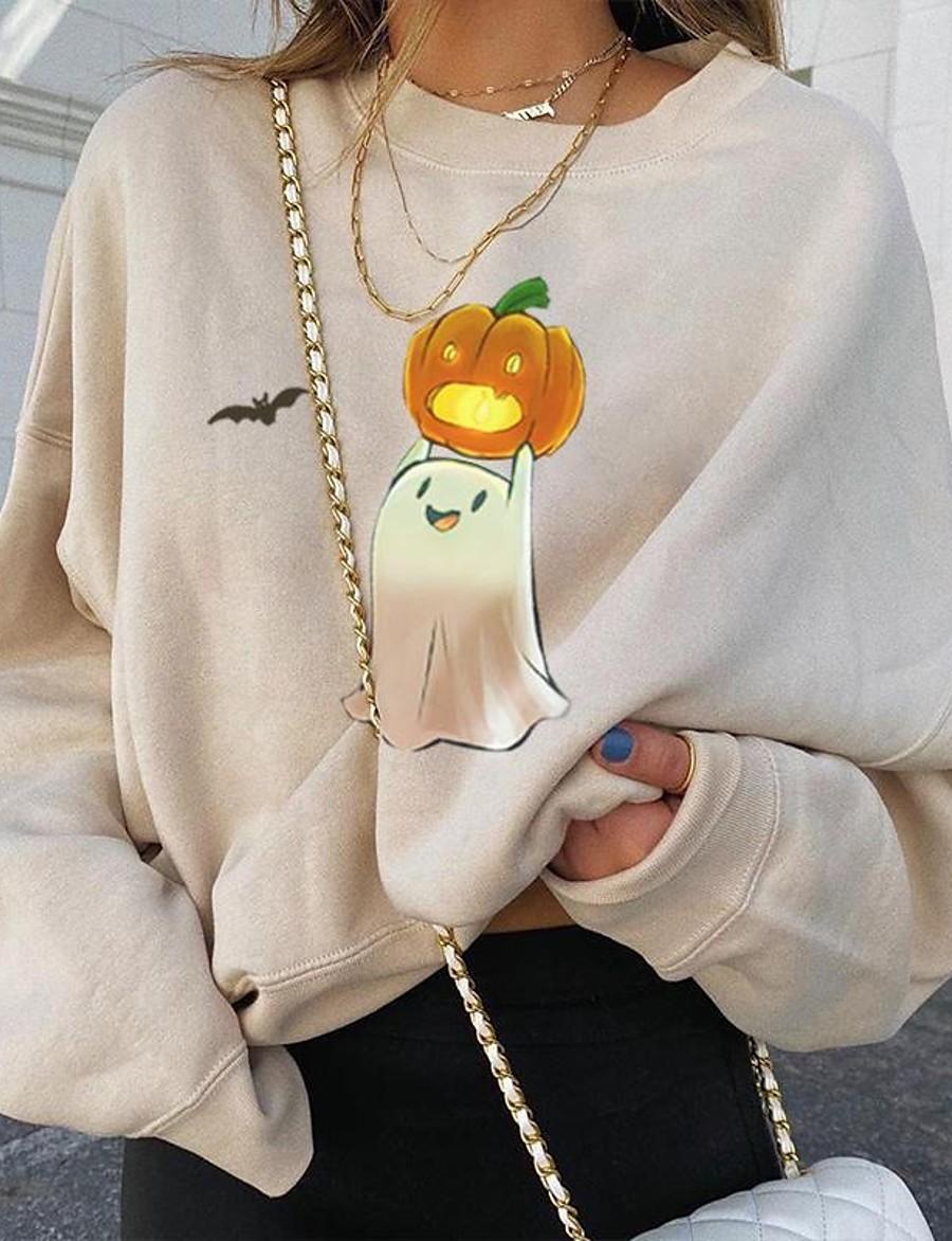 Women's Daily Pullover Sweatshirt Pumpkin Basic Hoodies Sweatshirts  Cotton Loose Beige