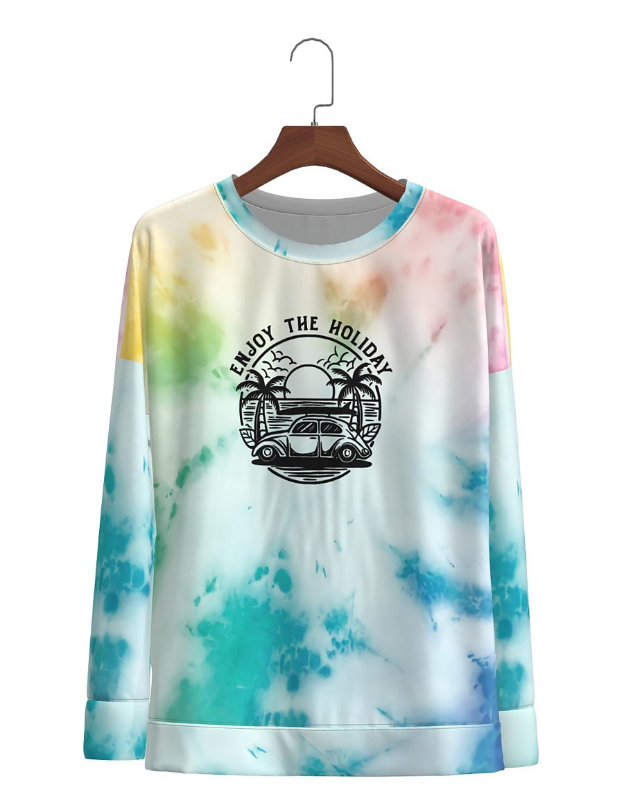 Women's Casual Basic Print Tie Dye Graphic Prints Pullover Long Sleeve Sweater Cardigans Round Neck Fall Black Blue Red