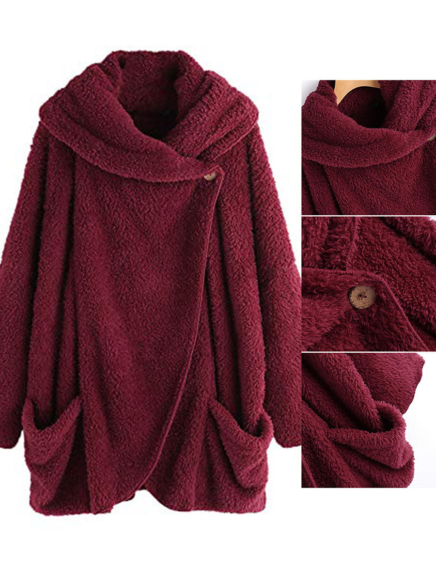 Women's Cloak / Capes Long Solid Colored Daily Basic Wine Red Black Navy Blue Pink S L 2XL 3XL