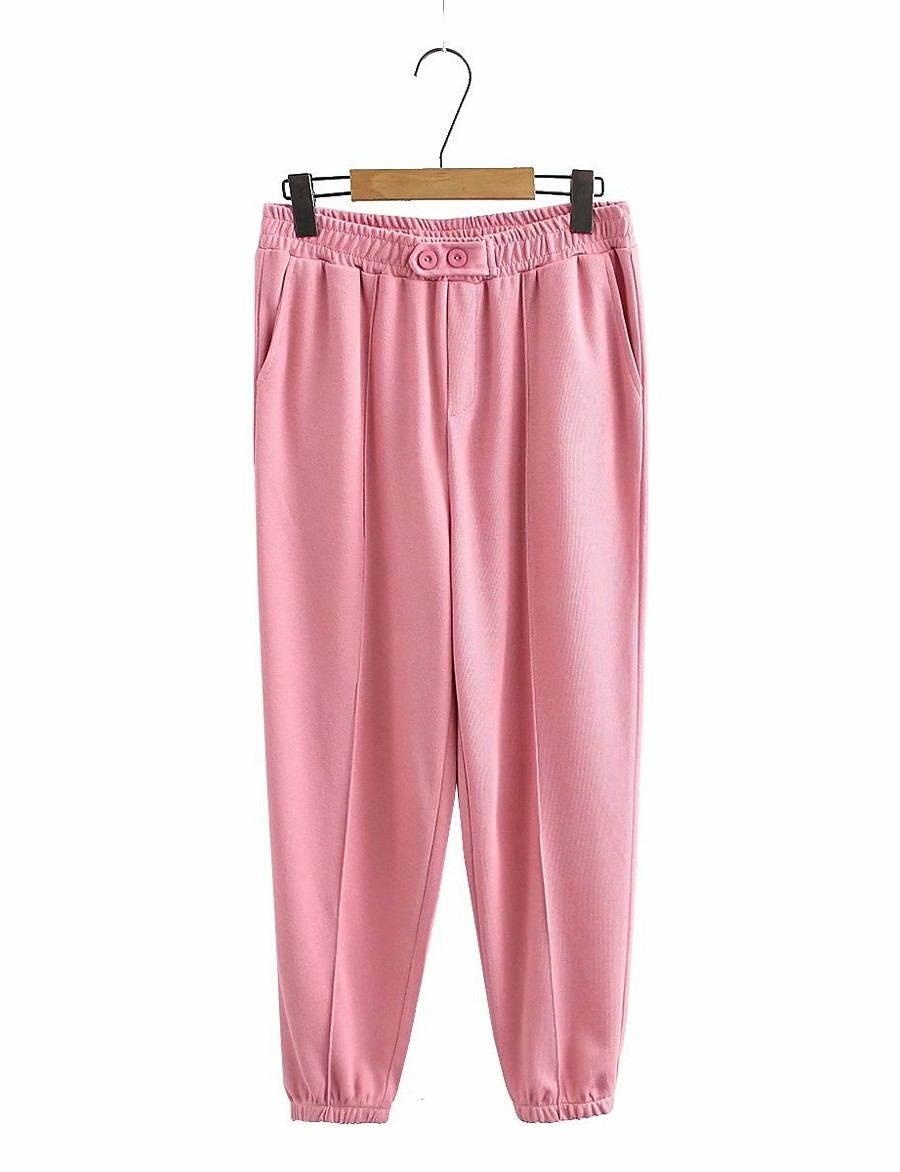 Women's Basic Streetwear Comfort Plus Size Cotton Loose Daily Going out Jogger Pants Solid Colored Full Length High Waist Black Blushing Pink Gray