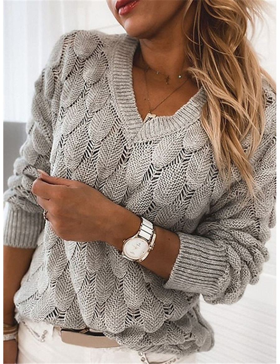 Women's Basic Knitted Solid Color Pullover Long Sleeve Sweater Cardigans V Neck Fall Winter Black Blue Red