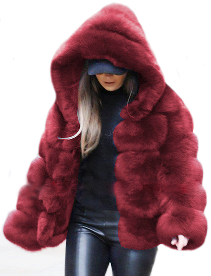 Women's Faux Fur Coat Fall Winter Daily Outdoor clothing Date Regular Coat Warm Regular Fit Chic & Modern Elegant & Luxurious Casual Jacket Long Sleeve Fur Solid Colored Sapphire Wine khaki