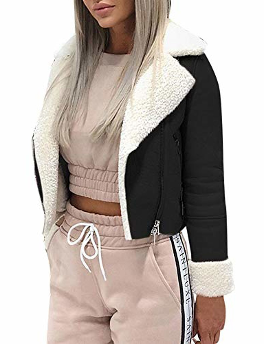 short faux shearling bomber jacket women's lapel suede leather buckle lamb motorcycle jackets coat by-newonesun black