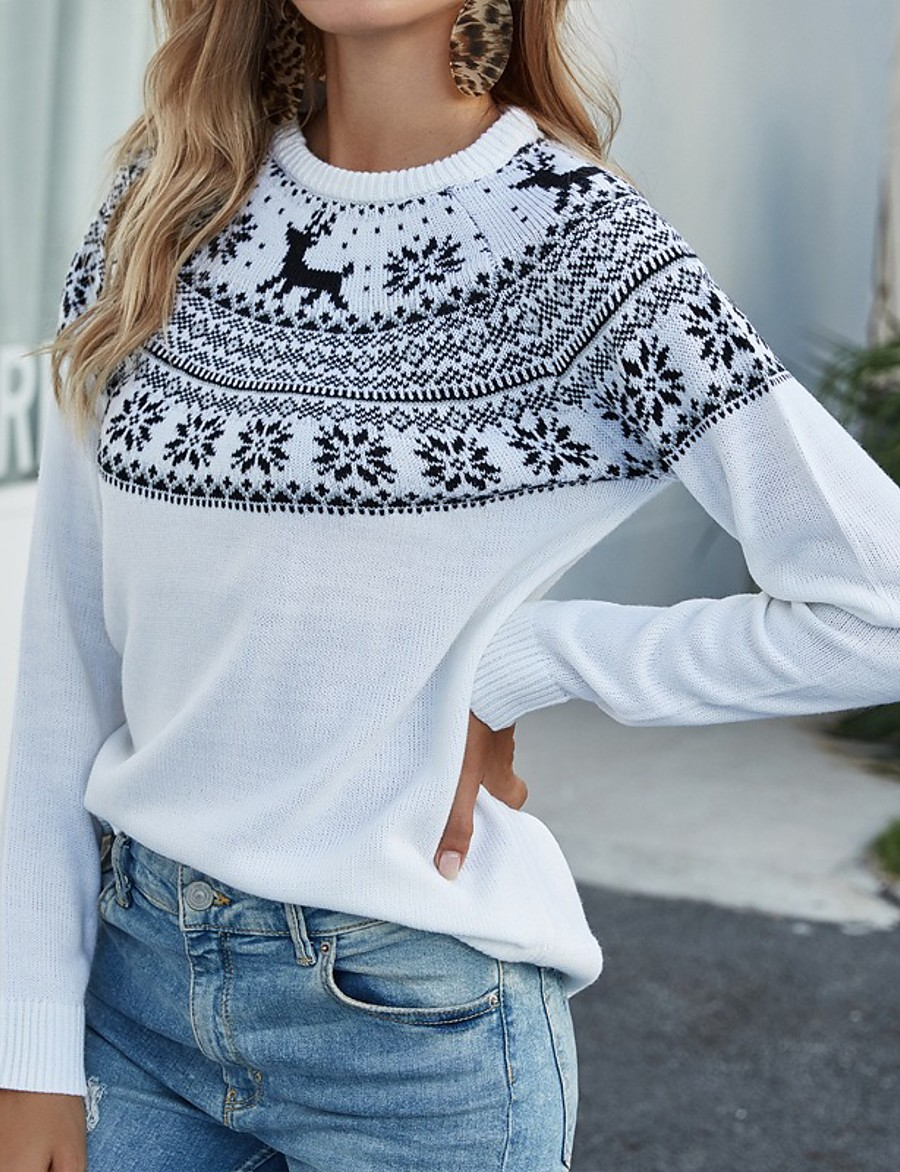 Women's Christmas Knitted Geometric Pullover Acrylic Fibers Long Sleeve Sweater Cardigans Crew Neck Fall White