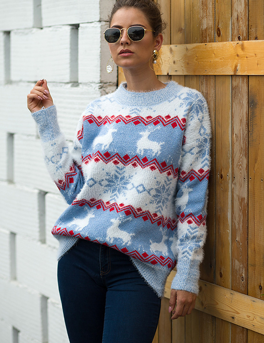 Women's Basic Christmas Knitted Geometric Pullover Long Sleeve Sweater Cardigans Crew Neck Fall Blue Red Blushing Pink