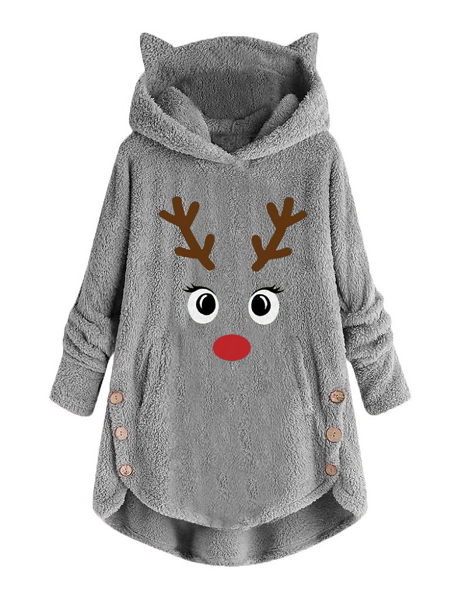 womens fleece hoodie pullover autumn winter plush warm cat embroidery plus size hooded tops button sweater