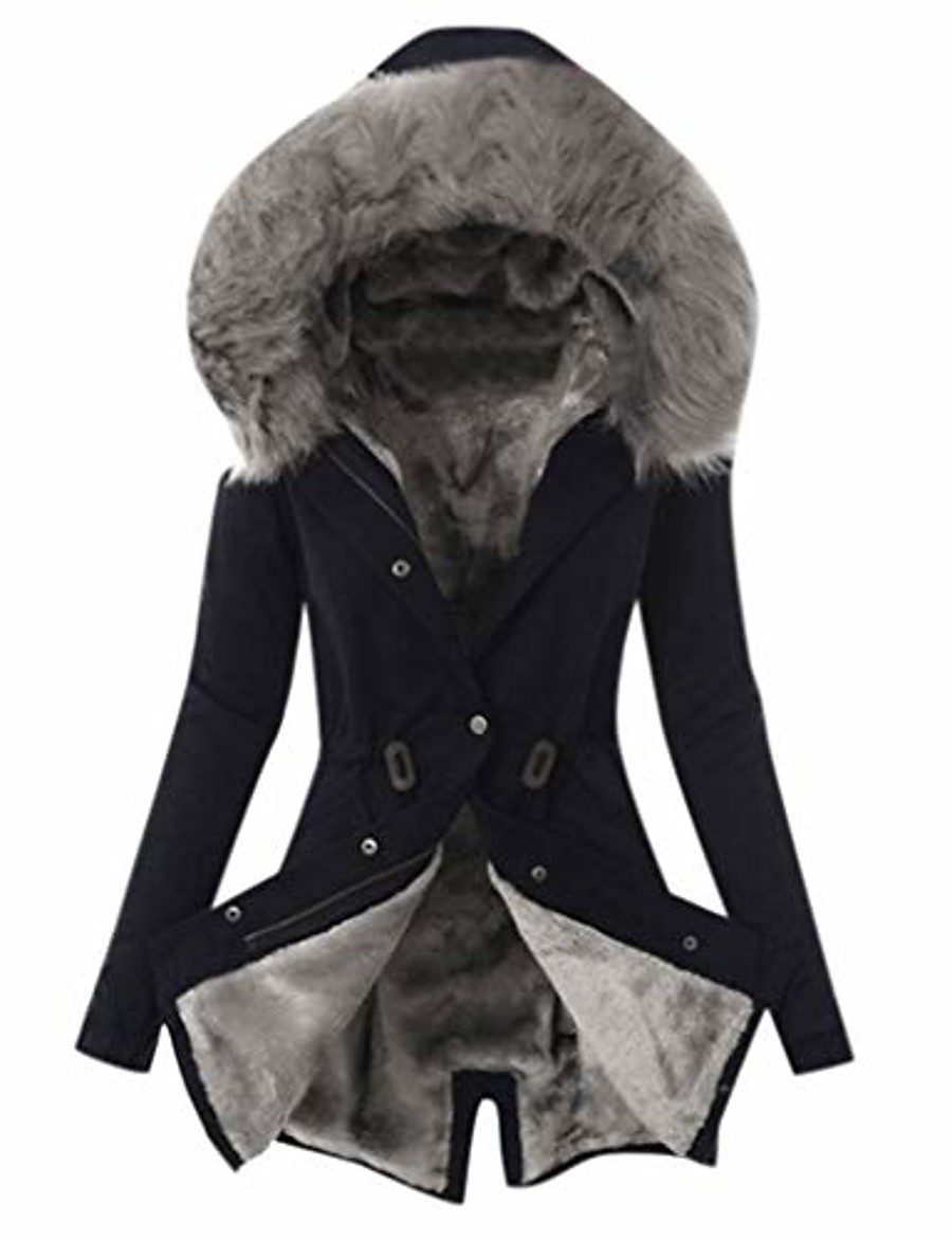 women's winter plus size overcoat fashion solid thick plush lining hooded coat ladies button long jacket black