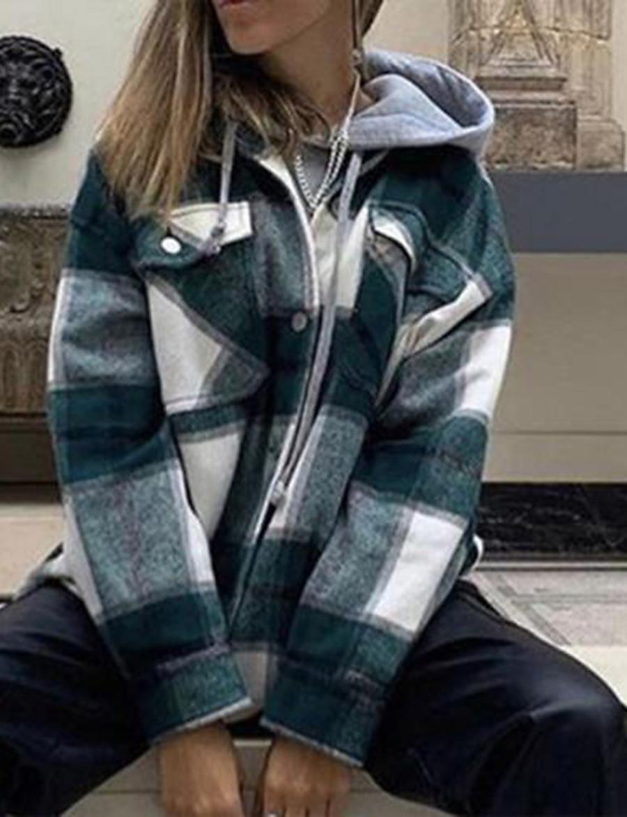 Women's Jacket Regular Plaid Daily Basic Green Light Green S M L XL