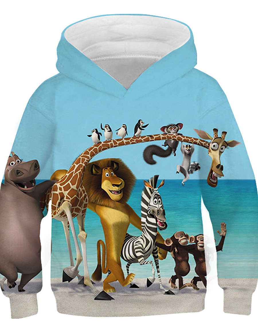 Kids Boys' Hoodie & Sweatshirt Long Sleeve Graphic 3D Print Rainbow Children Tops Active New Year