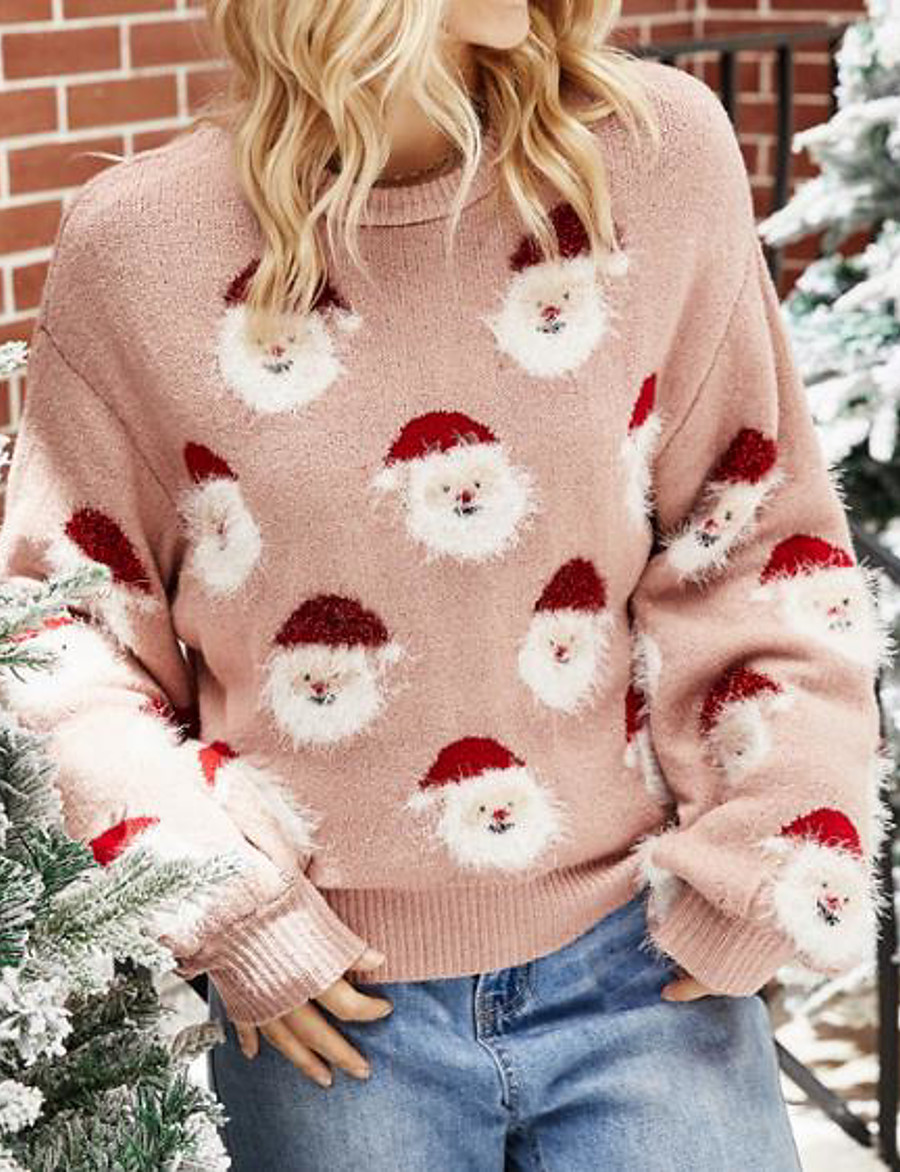 Women's Christmas Knitted Animal Pullover Long Sleeve Sweater Cardigans Crew Neck Fall Winter Blushing Pink